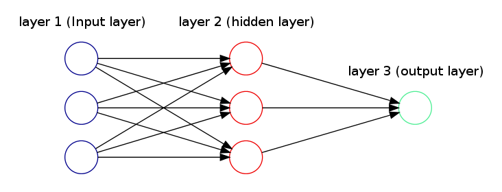 Neural network diagram with one output unit for binary classification problems